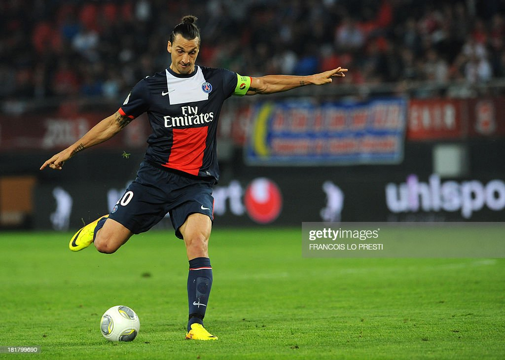 Paris Saint-Germain's Swedish forward <a gi-track='captionPersonalityLinkClicked' href=/galleries/search?phrase=Zlatan+Ibrahimovic&family=editorial&specificpeople=206139 ng-click='$event.stopPropagation()'>Zlatan Ibrahimovic</a> prepares a shot during a French L1 football match between Valenciennes and Paris Saint-Germain on September 25, 2013 at the Stade du Hainaut in Valenciennes, northern France.