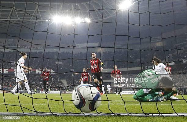 Paris SaintGermain's Swedish forward Zlatan Ibrahimovic reacts after scoring a penalty kick past Nice's French goalkeeper Yoan Cardinale during the...