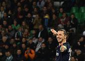 TOPSHOT Paris SaintGermain's Swedish forward Zlatan Ibrahimovic reacts after scoring his second goal during the Ligue1 football match between AS...