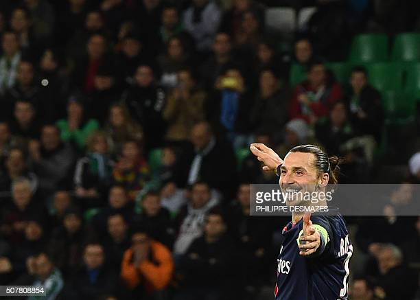 TOPSHOT Paris SaintGermain's Swedish forward Zlatan Ibrahimovic reacts after scoring his second goal during the Ligue1 football match between AS...