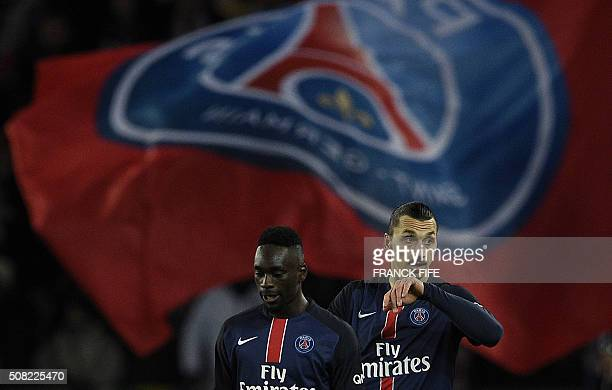 TOPSHOT Paris SaintGermain's Swedish forward Zlatan Ibrahimovic reacts after scoring a goal during the French L1 football match between Paris...