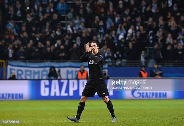 Paris SaintGermain`s Swedish forward Zlatan Ibrahimovic reacts as he is substituted during the UEFA Champions League Group A secondleg football match...