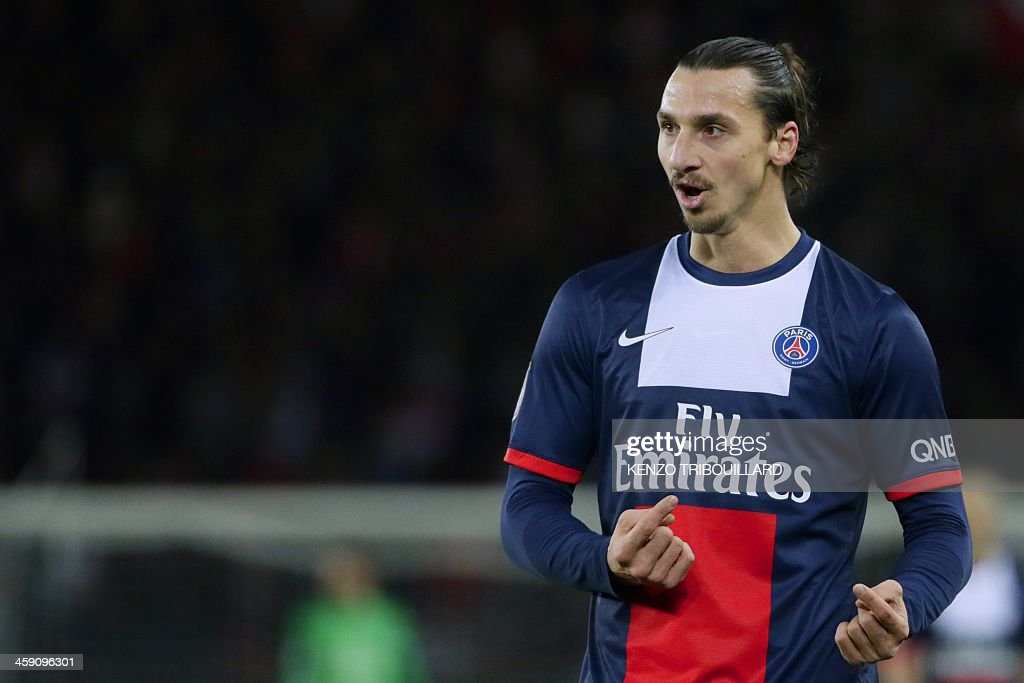 Paris Saint-Germain's Swedish forward Zlatan Ibrahimovic reacts during the French L1 football match between Paris Saint-Germain (PSG) and Lille (LOSC) in Paris on December 22, 2013.