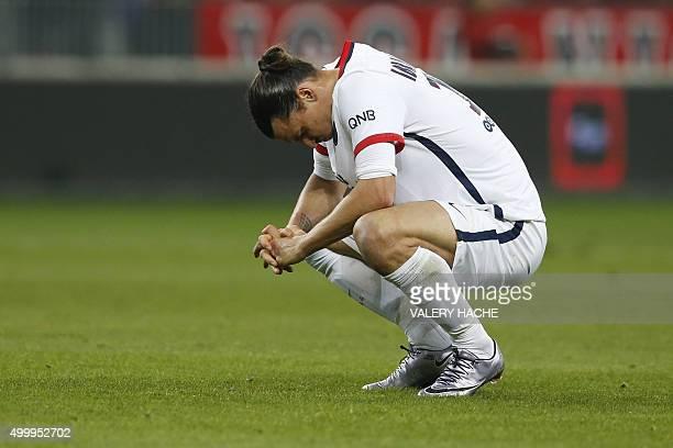 Paris SaintGermain's Swedish forward Zlatan Ibrahimovic reacts during the French L1 football match Nice vs Paris SaintGermain on December 4 2015 at...