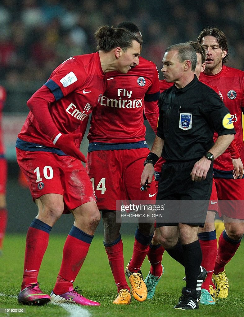Paris Saint-Germain's Swedish forward Zlatan Ibrahimovic(L) reacts on February 17, 2013 during a French L1 football match against Sochaux at the Auguste Bonal stadium in the eastern French city of Montbeliard.