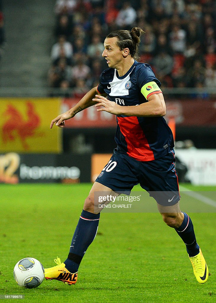 Paris Saint-Germain's Swedish forward <a gi-track='captionPersonalityLinkClicked' href=/galleries/search?phrase=Zlatan+Ibrahimovic&family=editorial&specificpeople=206139 ng-click='$event.stopPropagation()'>Zlatan Ibrahimovic</a> runs with the ball during a French L1 football match between Valenciennes and Paris Saint-Germain on September 25, 2013 at the Stade du Hainaut in Valenciennes, northern France.
