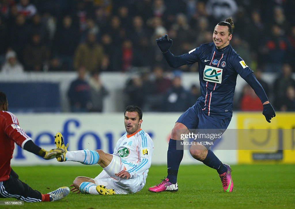 Paris Saint-Germain's Swedish forward Zlatan Ibrahimovic scores a goal during the French Cup football match between Paris Saint-Germain (PSG) vs Olympique de Marseille (OM) on February 27, 2013 at the Parc-des-Princes stadium in Paris. AFP PHOTO / MIGUEL MEDINA