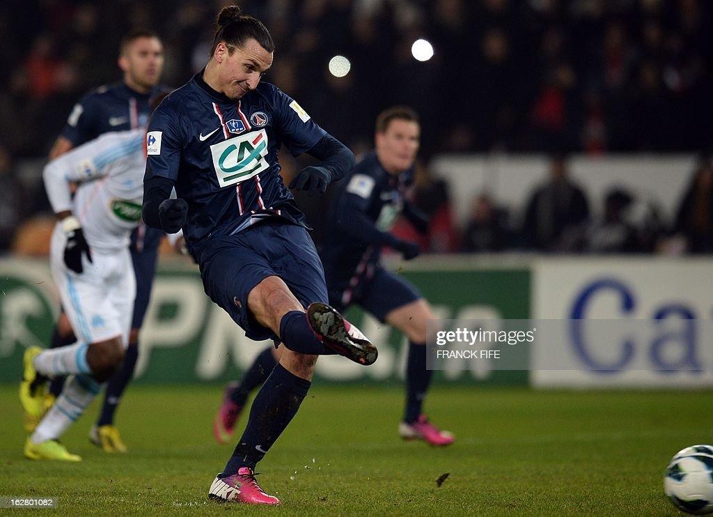 Paris Saint-Germain's Swedish forward Zlatan Ibrahimovic scores a goal during the French Cup football match Paris Saint-Germain vs Marseille on February 27, 2013 at the Parc des Princes stadium in Paris. AFP PHOTO/ FRANCK FIFE