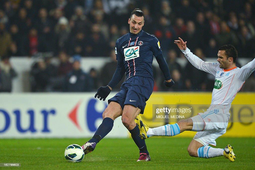 Paris Saint-Germain's Swedish forward Zlatan Ibrahimovic scores a golal during the French Cup football match between Paris Saint-Germain (PSG) vs Olympique de Marseille (OM) on February 27, 2013 at the Parc-des-Princes stadium in Paris.