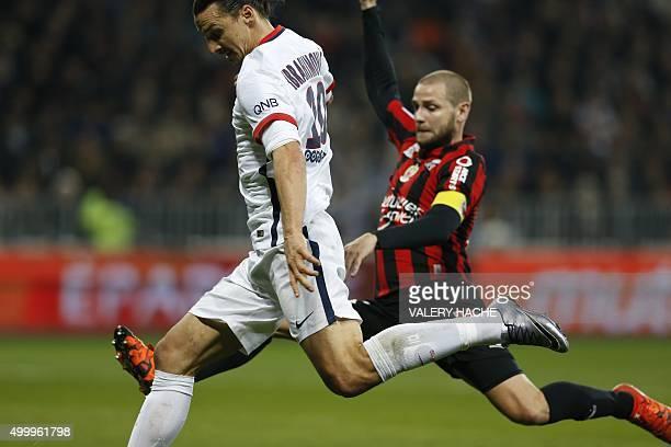 Paris SaintGermain's Swedish forward Zlatan Ibrahimovic shoots to scores a goal during the French L1 football match Nice vs Paris SaintGermain on...
