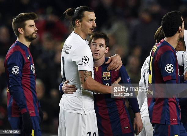 Paris SaintGermain's Swedish midfielder Zlatan Ibrahimovic hugs Barcelona's Argentinian forward Lionel Messi at the end of the UEFA Champions League...