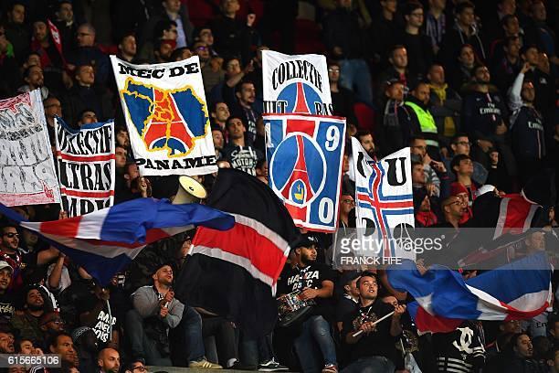 Paris SaintGermain's ultras celebrate at the end of the UEFA Champions League group A football match between Paris SaintGermain and Basel at the Parc...