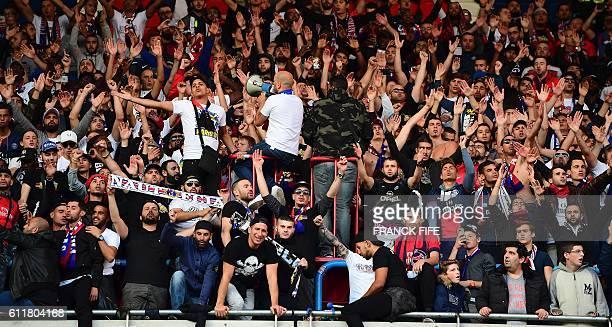 Paris SaintGermain's ultras cheer at the end of the French L1 football match between Paris SaintGermain and Bordeaux at the Parc des Princes stadium...