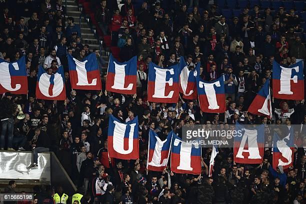 Paris SaintGermain's ultras cheer for their team during the UEFA Champions League group A football match between Paris SaintGermain and Basel at the...