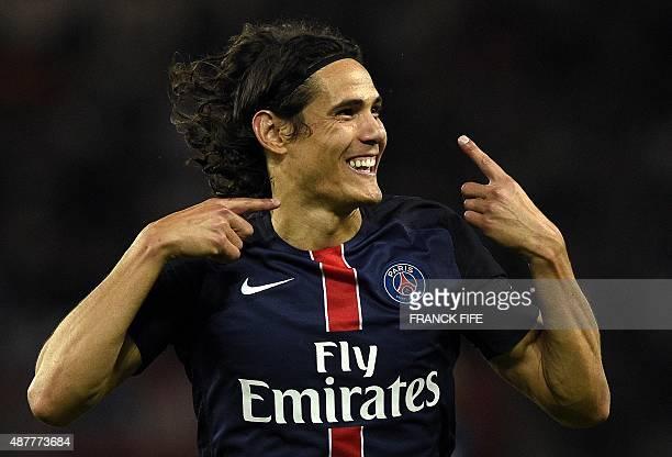 Paris SaintGermain's Uruguayan forward Edinson Cavani celebrates after scoring a goal during the French L1 football match between Paris SaintGermain...