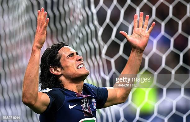TOPSHOT Paris SaintGermain's Uruguayan forward Edinson Cavani celebrates after scoring a goal during the French Cup final football match beween...