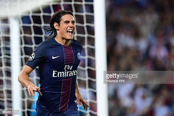 Paris SaintGermain's Uruguayan forward Edinson Cavani celebrates after scoring a goal during the UEFA Champions League Group A football match between...