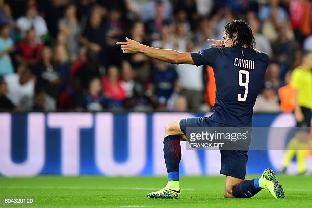 Paris SaintGermain's Uruguayan forward Edinson Cavani celebrates after scoring during the UEFA Champions League Group A football match between...
