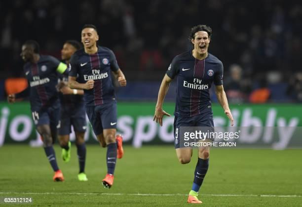 Paris SaintGermain's Uruguayan forward Edinson Cavani celebrates after scoring a goal during the UEFA Champions League round of 16 first leg football...