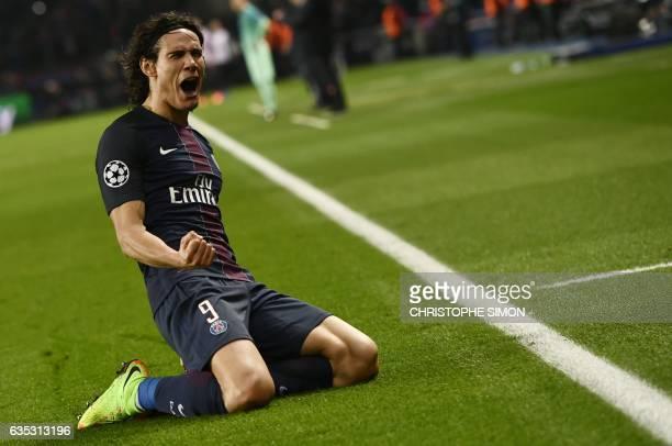 TOPSHOT Paris SaintGermain's Uruguayan forward Edinson Cavani celebrates after scoring a goal during the UEFA Champions League round of 16 first leg...