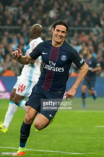 Paris SaintGermain's Uruguayan forward Edinson Cavani celebrates after scoring a goal during the French L1 football match Olympique de Marseille vs...