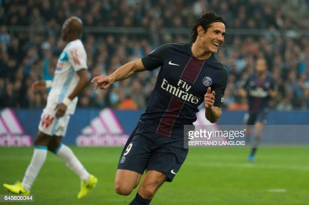 Paris SaintGermain's Uruguayan forward Edinson Cavani celebrates after scoring a goal during the French L1 football match Olympique de Marseille vs...