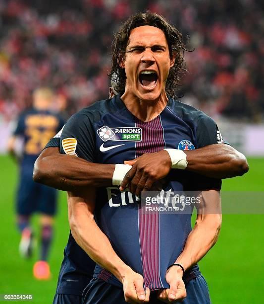 Paris SaintGermain's Uruguayan forward Edinson Cavani celebrates after scoring a goal during the French League Cup final football match between Paris...