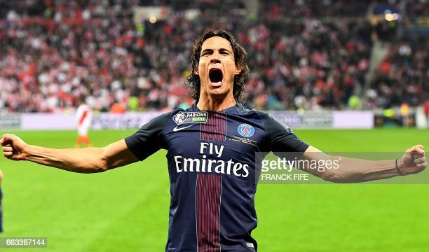TOPSHOT Paris SaintGermain's Uruguayan forward Edinson Cavani celebrates after scoring a goal during the French League Cup final football match...