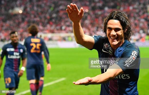Paris SaintGermain's Uruguayan forward Edinson Cavani celebrates after scoring a goal during the French League Cup final football match between Paris...