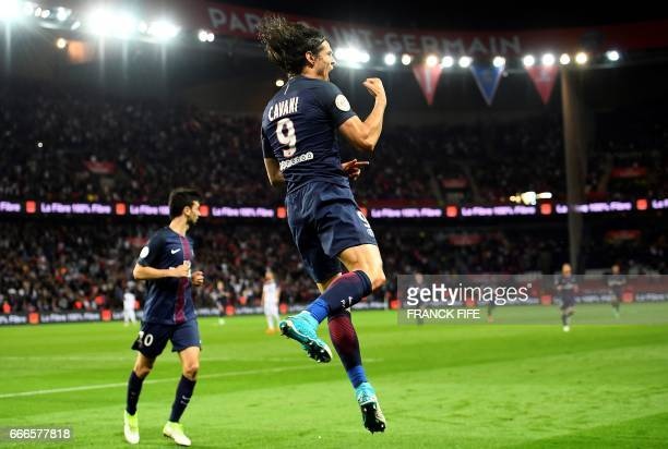 Paris SaintGermain's Uruguayan forward Edinson Cavani celebrates after scoring a goal during the French L1 football match between Paris SaintGermain...