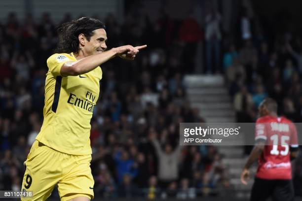 Paris SaintGermain's Uruguayan forward Edinson Cavani celebrates after scoring a goal during the French L1 football match Paris SaintGermain vs En...
