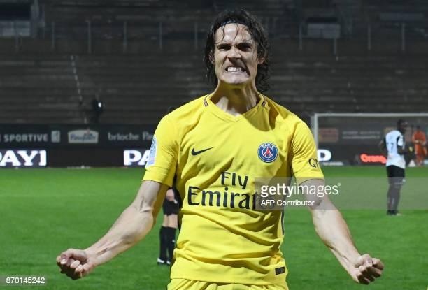 TOPSHOT Paris SaintGermain's Uruguayan forward Edinson Cavani celebrates after scoring during the French L1 Football match between Angers and Paris...