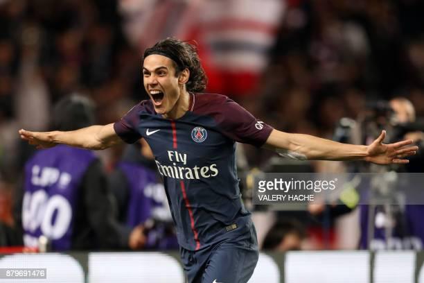 Paris SaintGermain's Uruguayan forward Edinson Cavani celebrates after scoring a goal during the French L1 football match between Monaco and Paris...