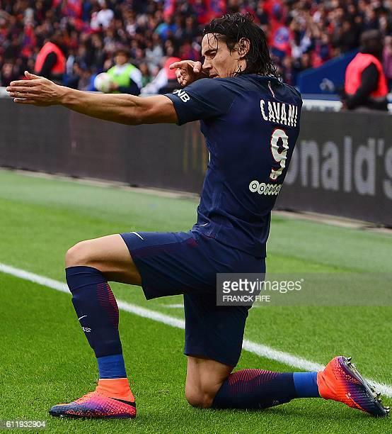 Paris SaintGermain's Uruguayan forward Edinson Cavani celebrates his goal during the French L1 football match between Paris SaintGermain and Bordeaux...