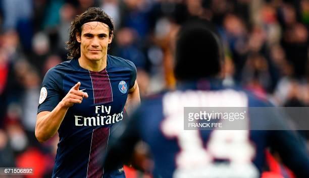Paris SaintGermain's Uruguayan forward Edinson Cavani celebrates his goal during the French L1 football match between Paris SaintGermain and...