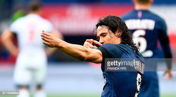 Paris SaintGermain's Uruguayan forward Edinson Cavani celebrates his goal during the French L1 football match between Paris SaintGermain and...