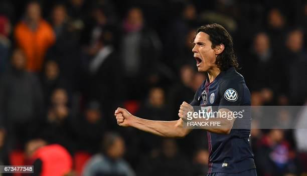 TOPSHOT Paris SaintGermain's Uruguayan forward Edinson Cavani celebrates his goal during the French Cup semifinal match between Paris SaintGermain...