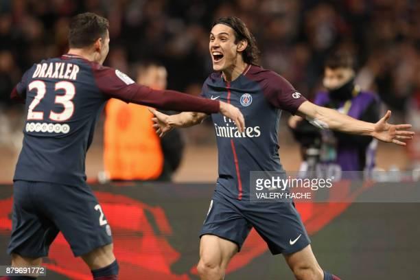 Paris SaintGermain's Uruguayan forward Edinson Cavani celebrates with Paris SaintGermain's German midfielder Julian Draxler after scoring a goal...