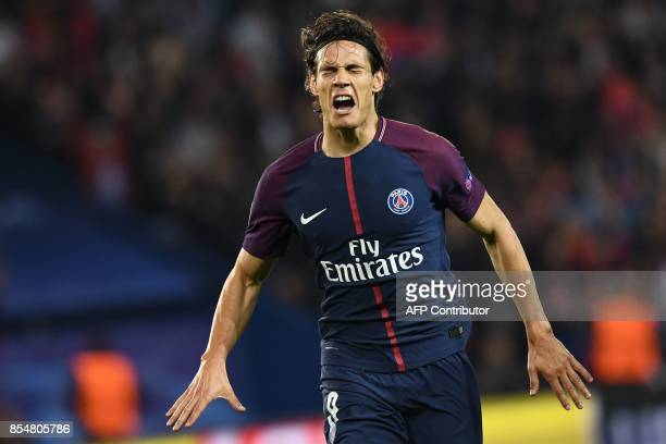 Paris SaintGermain's Uruguayan forward Edinson Cavani during the UEFA Champions League football match between Paris SaintGermain and Bayern Munich on...