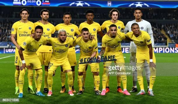 Paris SaintGermain's Uruguayan forward Edinson Cavani Italian midfielder Thiago Motta Brazilian defender Marquinhos French midfielder Adrien Rabiot...