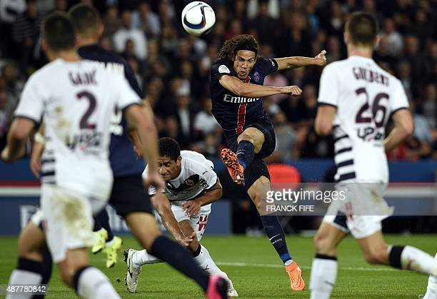 Paris SaintGermain's Uruguayan forward Edinson Cavani kicks the ball during the French L1 football match between Paris SaintGermain and Bordeaux at...