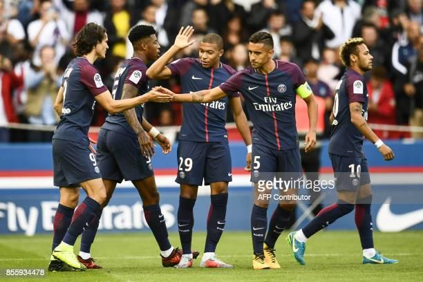 Paris SaintGermain's Uruguayan forward Edinson Cavani Paris SaintGermain's French defender Presnel Kimpembe Paris SaintGermain's French forward...