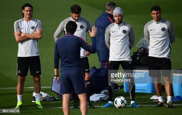 Paris SaintGermain's Uruguayan forward Edinson Cavani Paris SaintGermain's Italian midfielder Thiago Motta Paris SaintGermain's Brazilian forward...