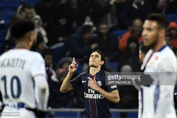 Paris SaintGermain's Uruguayan forward Edinson Cavani reacts after scoring a penalty during French L1 football match between Olympique Lyonnais and...