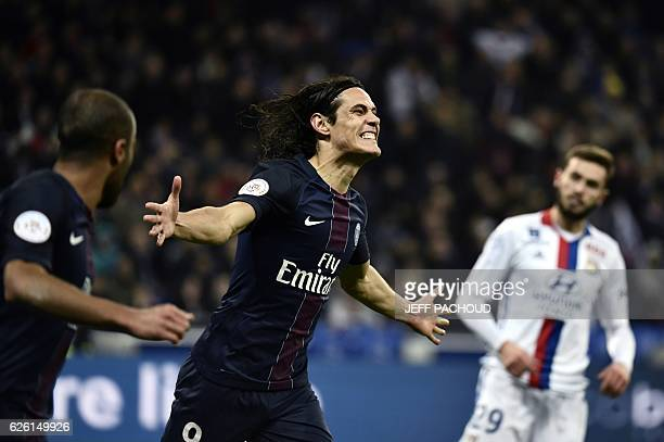 Paris SaintGermain's Uruguayan forward Edinson Cavani reacts after scoring a goal during the French L1 football match between Olympique Lyonnais and...