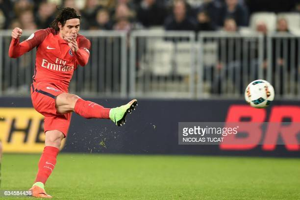 Paris SaintGermain's Uruguayan forward Edinson Cavani scores a goal during the French Ligue 1 football match between Bordeaux and Paris on February...