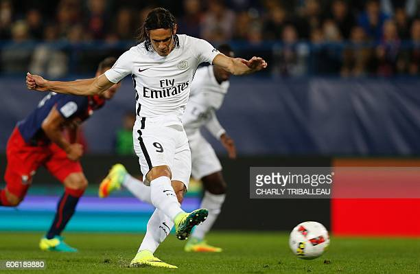 Paris SaintGermain's Uruguayan forward Edinson Cavani shoots and scores a goal during the French L1 football match between Caen and Paris...