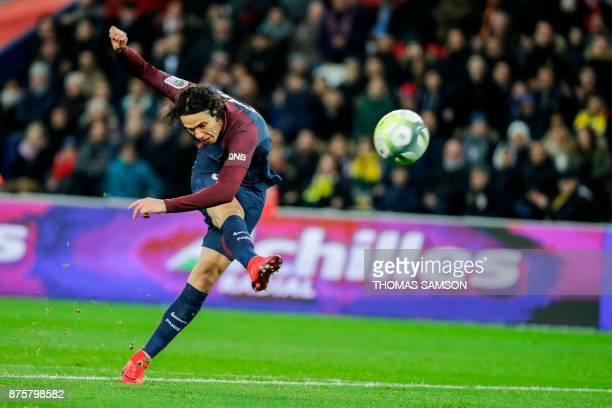 TOPSHOT Paris SaintGermain's Uruguayan forward Edinson Cavani shoots on goal during the French L1 football match between Paris SaintGermain and...