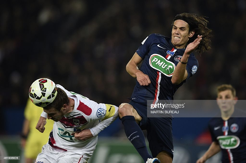 Paris Saint-Germain's Uruguayan forward <a gi-track='captionPersonalityLinkClicked' href=/galleries/search?phrase=Edinson+Cavani&family=editorial&specificpeople=4104253 ng-click='$event.stopPropagation()'>Edinson Cavani</a> (R) vies with Bordeaux's French midfielder <a gi-track='captionPersonalityLinkClicked' href=/galleries/search?phrase=Gregory+Sertic&family=editorial&specificpeople=5853019 ng-click='$event.stopPropagation()'>Gregory Sertic</a> (L) during the French Cup football match Paris Saint-Germain (PSG) vs Girondins de Bordeaux (FCGB) at the Parc-des-Princes stadium in Paris, on January 21, 2015.