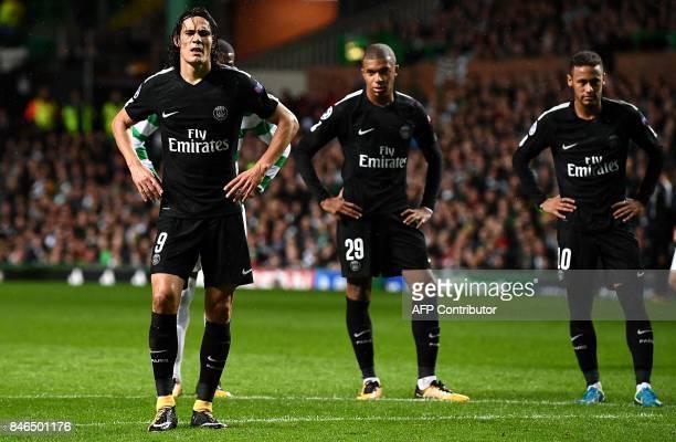 Paris SaintGermain's Uruguayan striker Edinson Cavani Paris SaintGermain's French striker Kylian Mbappe and Paris SaintGermain's Brazilian striker...